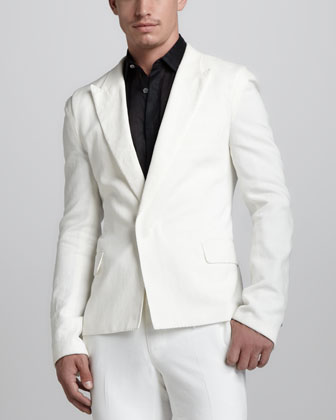 Peak-Lapel Snap Jacket