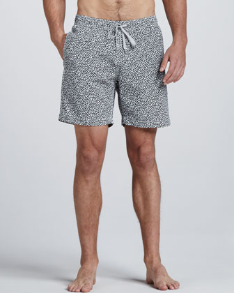 Charles Liberty Art Paisley-Print Swim Trunks, Navy