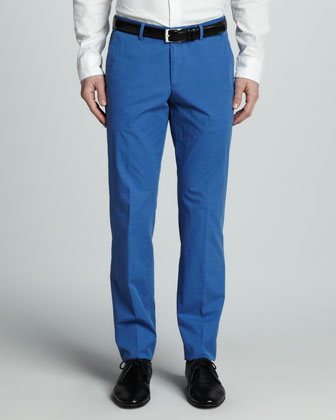 Washed Cotton Trousers, Bright Blue