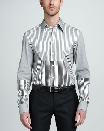 Mixed-Stripe Dress Shirt