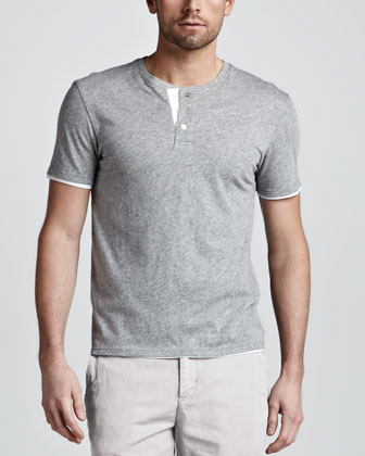 Double-Layer Henley Tee, Gray