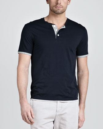 Double-Layer Henley Tee, Navy