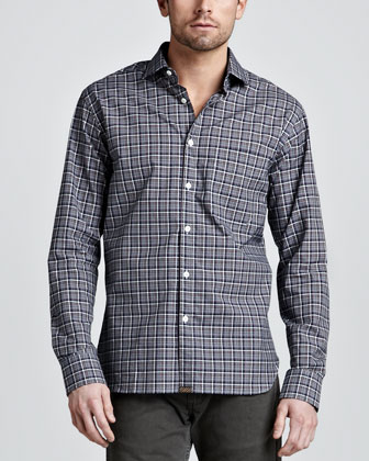 John T Plaid Sport Shirt, Navy/Gold