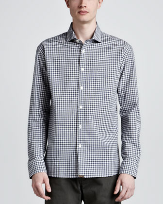 John T Plaid Sport Shirt, Blue/Gray