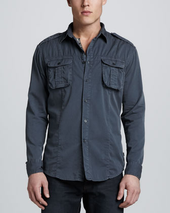 Military Long-Sleeve Shirt, Navy