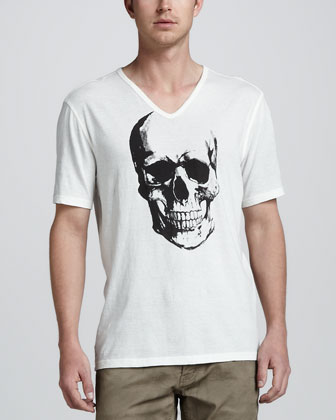 Skull-Graphic V-Neck Tee, Cable-Knit Cardigan & Bowery Jeans