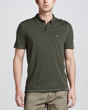 Short-Sleeve Micro-Striped Polo, Green