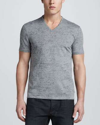 Short-Sleeve V-Neck Tee, Gray