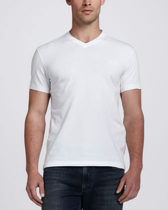 Stretch Logo V-Neck Tee, White