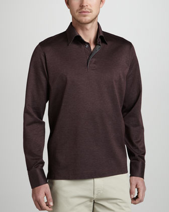 Long-Sleeve Herringbone Polo, Cranberry/Charcoal