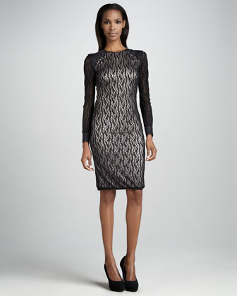 Houndstooth Lace Long-Sleeve Dress