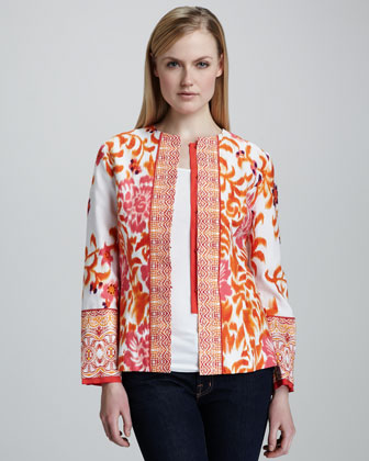 Mixed Print Jacquard Jacket