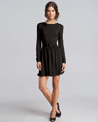 Bow-Waist Wool Dress
