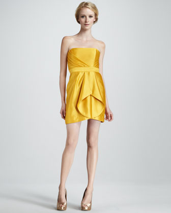 Orly Strapless Pleated Silk Dress