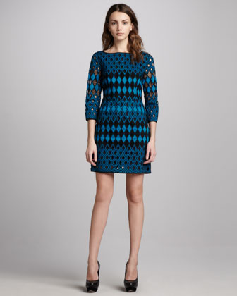 Cutout Shift Dress, Cerulean