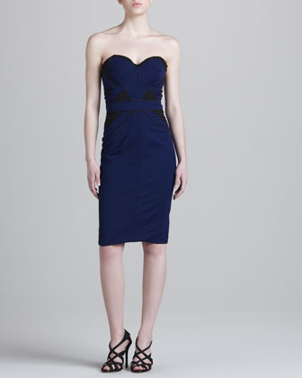 Bonded Strapless Jersey Dress, Blue