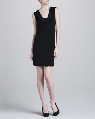 Cap-Sleeve Jersey Dress, Washed Black