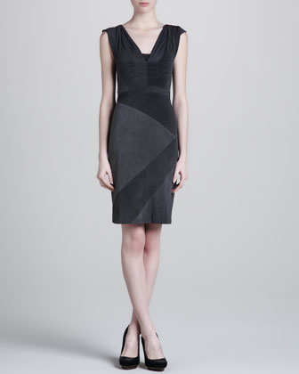 Cap-Sleeve Jersey Dress, Black/Washed Black
