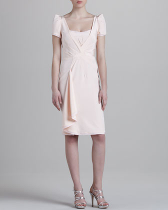 Stretch-Crepe Cap-Sleeve Dress, Ballet Pink