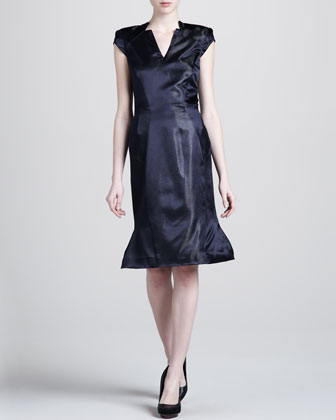 Metallic Contoured V-Neck Dress, Black