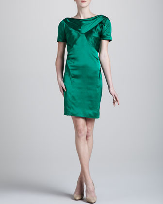 Hammered Silk Short-Sleeve Dress, Green