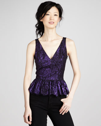 Metallic Lace V-Neck Peplum Top