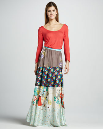 Mixed-Printed Maxi Skirt