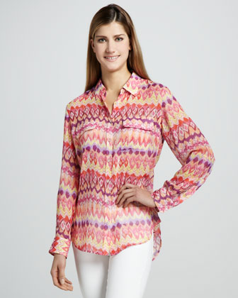 Flamestitch Safari Blouse, Petite