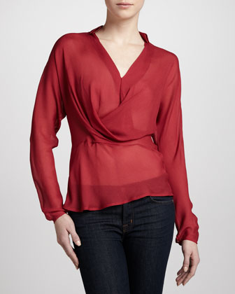 Sheer V-Neck Blouse, Paprika