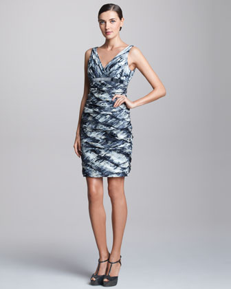 Metallic Ruched Cocktail Dress