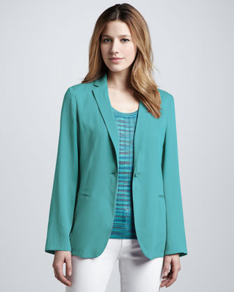 Silk One-Button Jacket