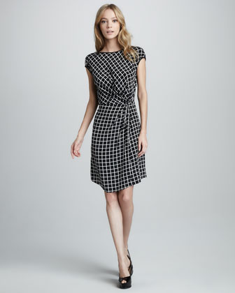 Check Cap-Sleeve Dress