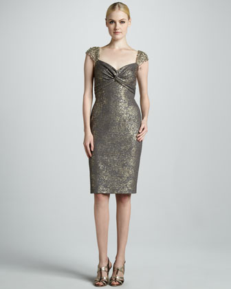 Embroidered Cap-Sleeve Cocktail Dress