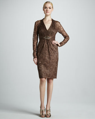 Lace Cocktail Dress with Embellished Empire Waist