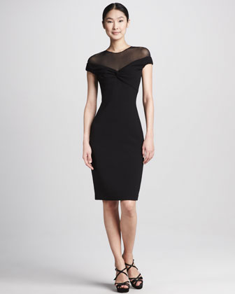 Illusion-Top Cocktail Dress