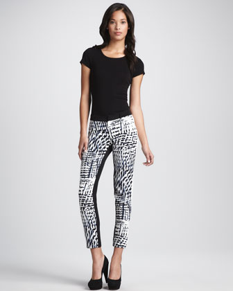Printed Cropped Slim Pants