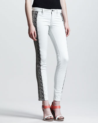 Split Skinny Embroidered Jeans