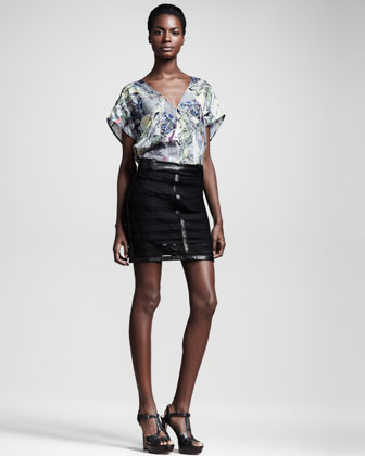 Microcosm Leather-Trim Lace Skirt