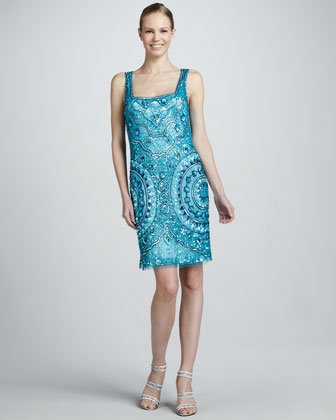 Square-Neck Beaded Cocktail Dress