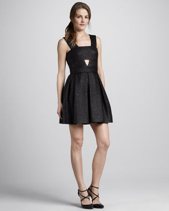 Box-Pleat Cutout Dress