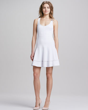Sleeveless Flared Skirt Dress, Optic White