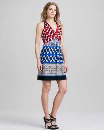 Halter Mixed-Print Jersey Dress