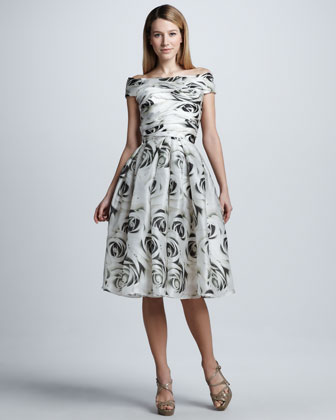 Full-Skirt Rose-Print Cocktail Dress