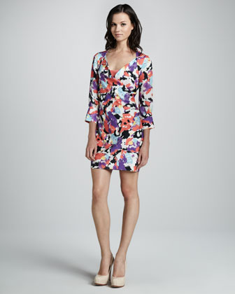 Balloon-Print V-Neck Dress