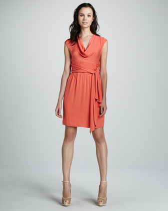 Cowl-Neck Belted Dress