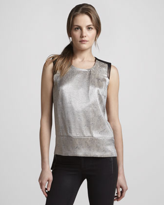 Geena Metallic Snake-Print Top