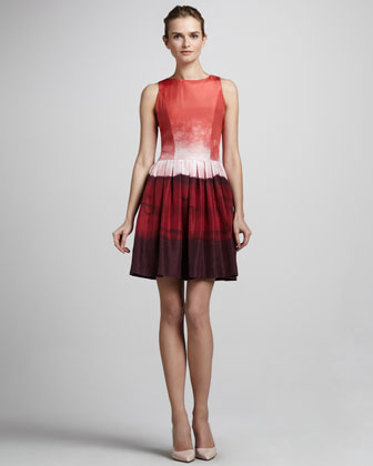Georgia Ombre Taffeta Tie-Back Dress
