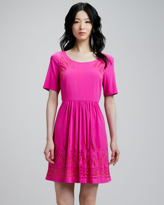 Cutout-Trim Charmeuse Dress