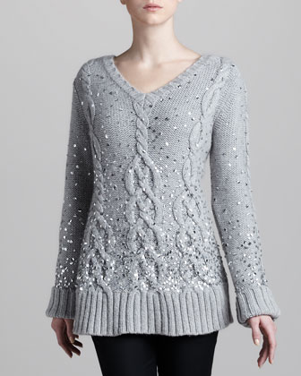 Hand-Knit Sequined Cable Sweater