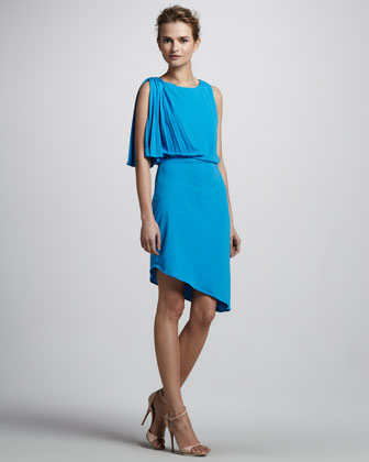 Dress with Pleated Shoulder